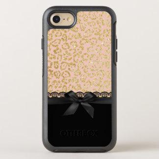Gold Leopard Print Elegant Black Lace & Ribbon OtterBox Symmetry iPhone 8/7 Case
