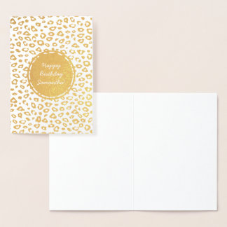 Gold Leopard print Personalized Birthday Foil Card