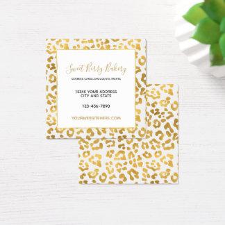 Gold Leopard Print Square Business Card