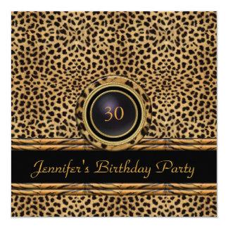Gold Leopard Rattan Invite 30th Birthday Party