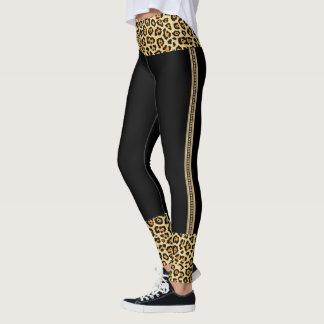 Gold & Leopard Trim Print Leggings