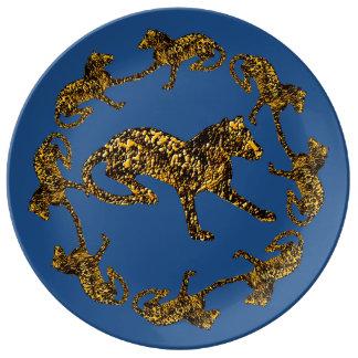Gold Leopards Decorative Art Plate Porcelain Plates