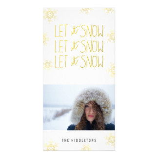 Gold Let It Snow Snowflakes Modern Holiday Customised Photo Card
