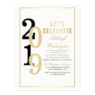 Gold Let's Celebrate   White Graduation Party Postcard