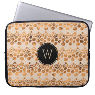Gold & Light Beige Complex Lines pattern Laptop Sleeve