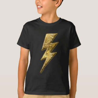 Gold Lightning Bolt Kids T-Shirt