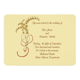 Gold Lily of the Valley Wedding Card