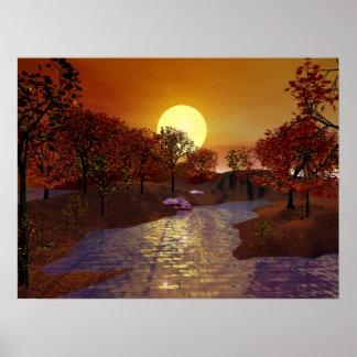 Gold Linger - Autumn Scene Poster