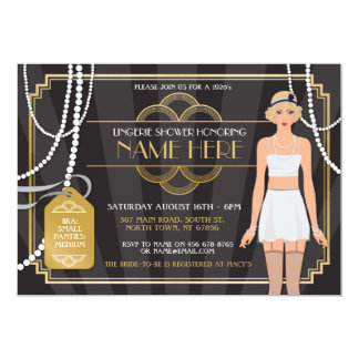 Gold Lingerie Bridal Shower 1920s Pearl Invitation