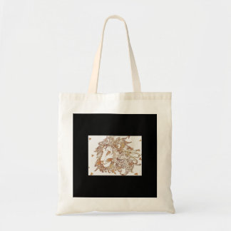 Gold Lion and Triangles Tote Bag
