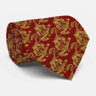 Gold Lion on Deep Crimson Red Tie