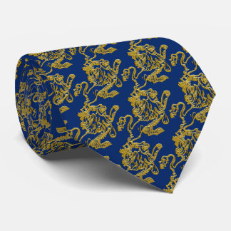 Gold Lion on Navy Blue Tie