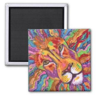 Gold Lion Original Expressive Painting Magnet