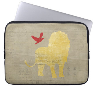 Gold Lion Silhouette  Computer Sleeve