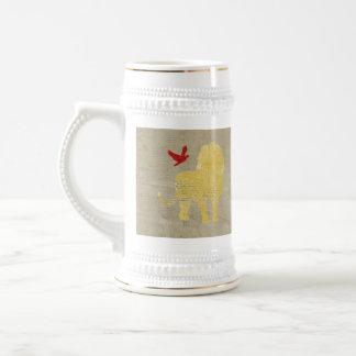 Gold Lion Silhouette Stein Mug