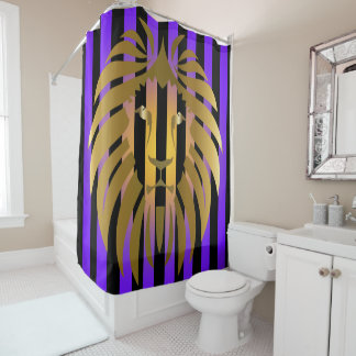 Gold Lion Sunset and Stripes Shower Curtain