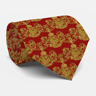 Gold Lion & Unicorn British Coat of Arms on Red Tie