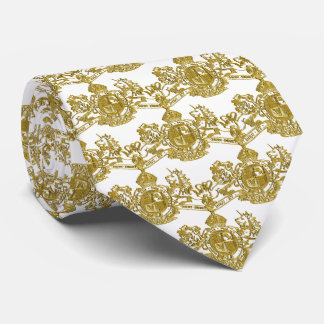 Gold Lion & Unicorn British Coat of Arms on White Tie