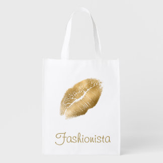 Gold Lips Fashionista Reusable Grocery Bag