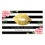 Gold Lips Floral Black White Stripes Makeup Artist Pack Of Standard Business Cards