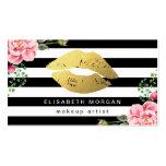 Gold Lips Floral Black White Stripes Makeup Artist Pack Of Standard Business Cards