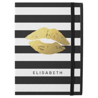 Gold Lips Kiss XOXO Black White Stripes