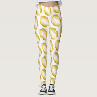 Gold Lips Modern White Leggings