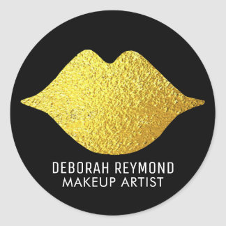 gold lips on black for a makeup artist beauty classic round sticker