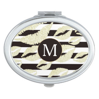 Gold Lips on Stripes Monogram Compact Mirrors