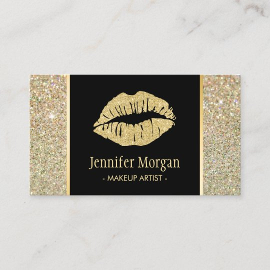 Gold lips trendy glitter sparkles makeup artist business card gold lips trendy glitter sparkles makeup artist business card reheart Images