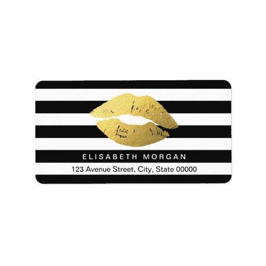 Gold Lips with Black White Stripes Address Label