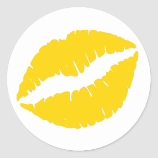 Gold Lipstick Print Round Sticker
