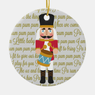 Gold Little Drummer Boy Nutcracker Christmas Ceramic Ornament