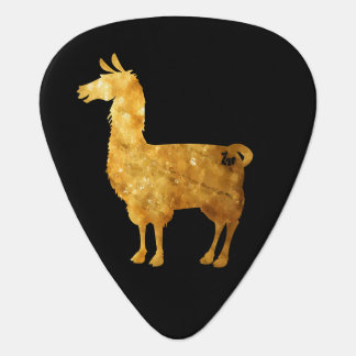 Gold Llama Black & White Guitar Pick