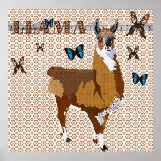Gold Llama & Butterflies Bronze Floral Poster