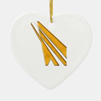 gold logo ceramic heart decoration