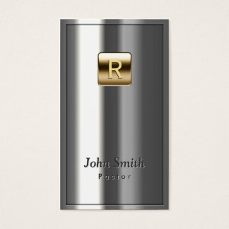 Gold Logo Metallic Pastor Business Card