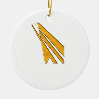 gold logo round ceramic decoration