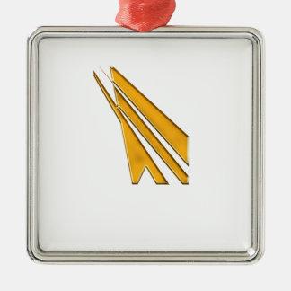 gold logo Silver-Colored square decoration