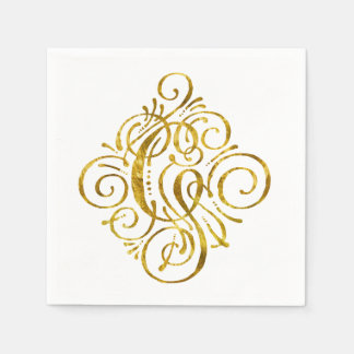 """""""Gold"""" Look Initial G Disposable Napkins"""