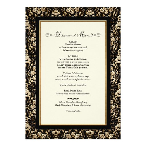 Gold Look, Lace Baroque Art Nouveau Deco 20s Style Personalized Invitations