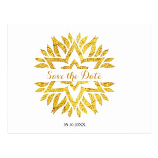 Gold Look Star Mandala Bat Mitzvah Save the Date Postcard