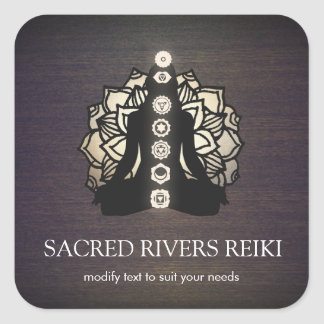 Gold Lotus  Chakra Reiki Master and Yoga Teacher Square Sticker