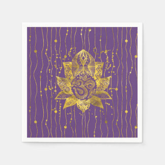 Gold Lotus flower and OM symbol Disposable Napkin