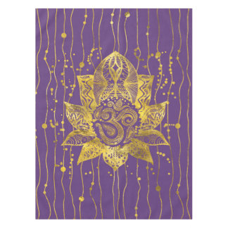 Gold Lotus flower and OM symbol Tablecloth