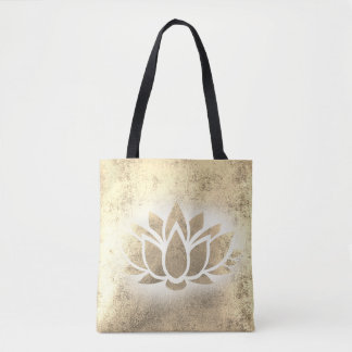 gold lotus flower tote bag