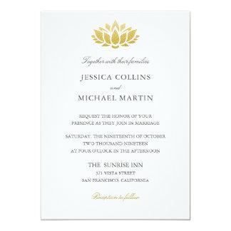 Gold Lotus Flower Wedding Invitation Card
