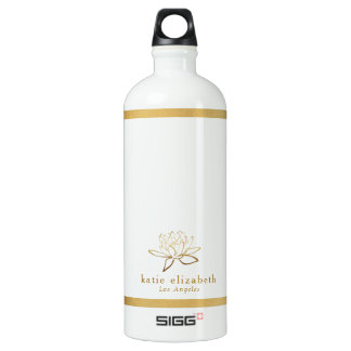 Gold Lotus Name and City Water Bottle