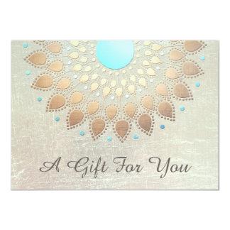 Gold Lotus Salon and Spa Gift Certificate 11 Cm X 16 Cm Invitation Card