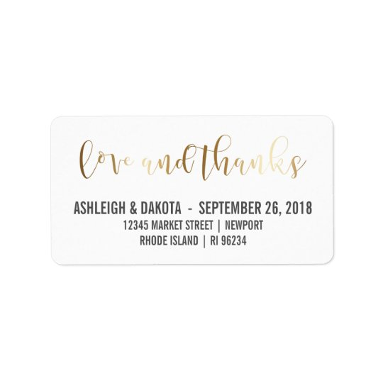 Gold Love And Thanks Script | Newlyweds Photo Address Label